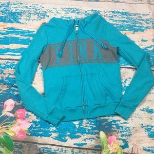 Pink Victoria secret blue zip up hoodie small